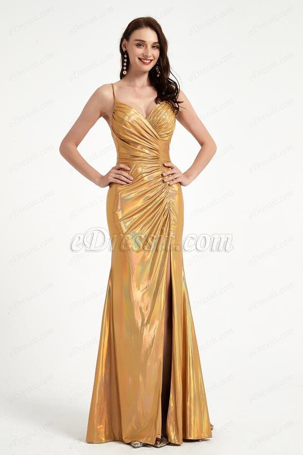 eDressit Shiny Gold-Yellow Pleated Elegant Party Evening Dress (00204503)