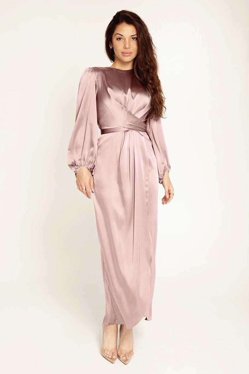 New Women's Elegant Empire Waist Long Sleeve Satin Maxi Dress (T300001B)
