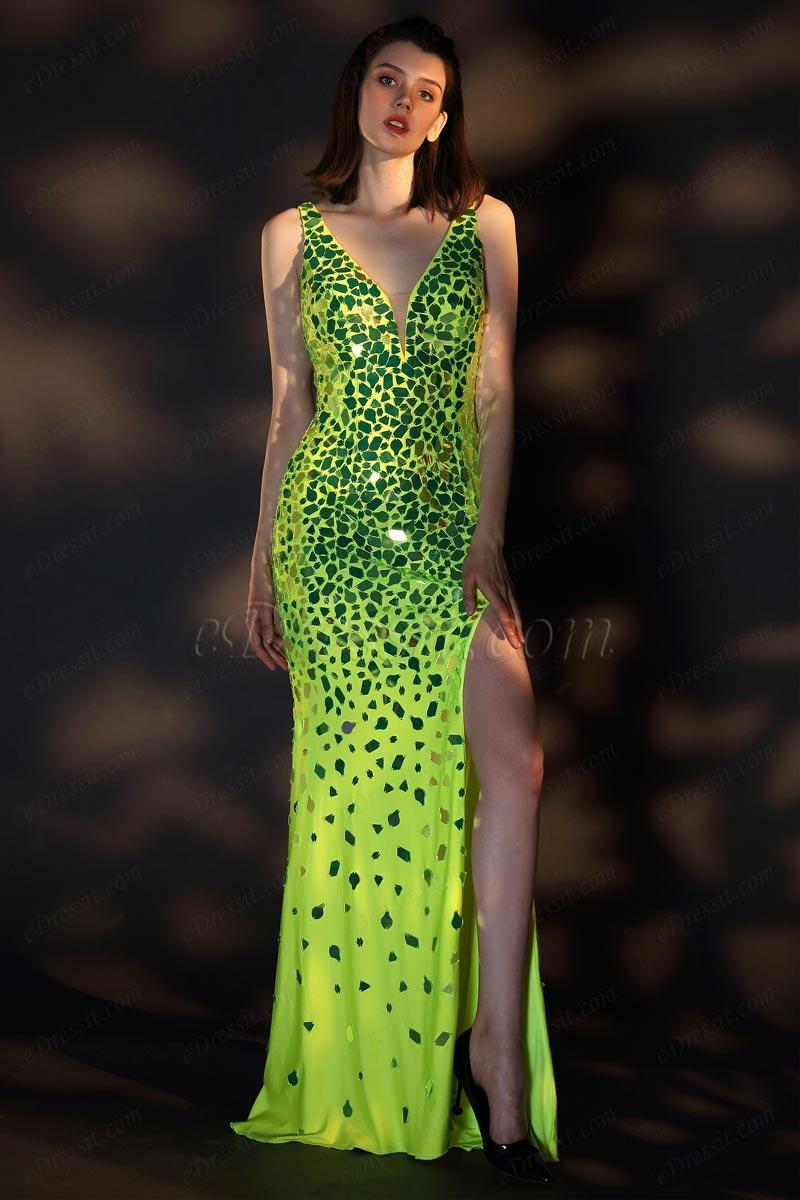 eDressit Gorgeous Green V-Cut High Slit Sparkle Evening Ball Gown (00208804)