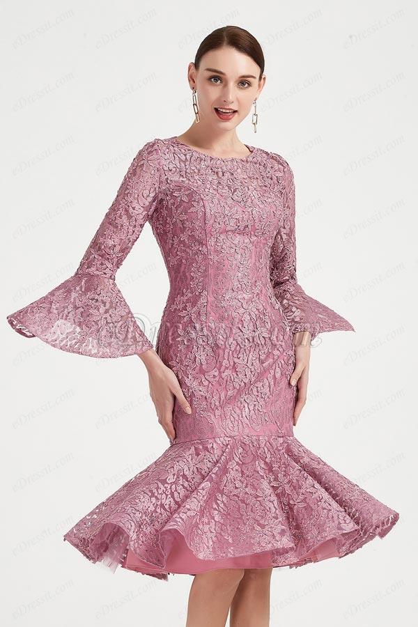 eDressit Round Neck Trumpet Sleeves Lace Applique Party Dress (26200746)