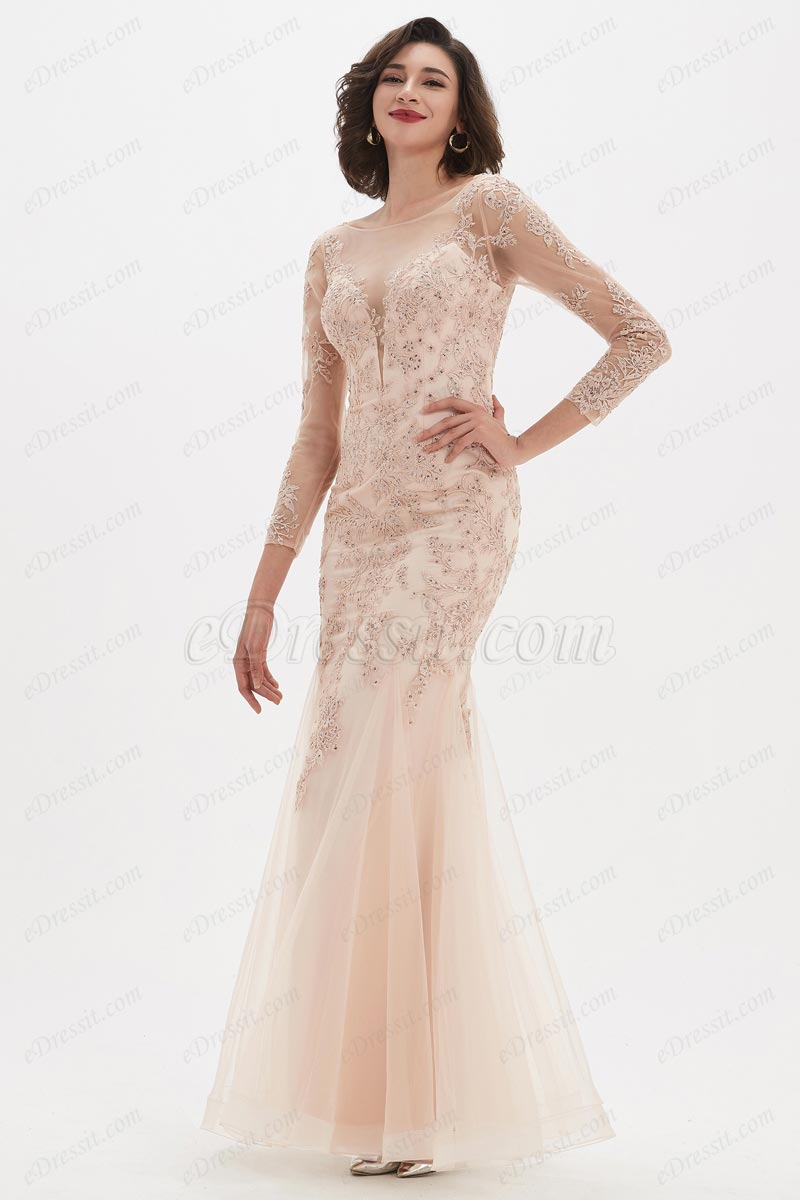 eDressit Illusion Neckline Lace Tulle Mermaid Party Ball Gown (02211601)