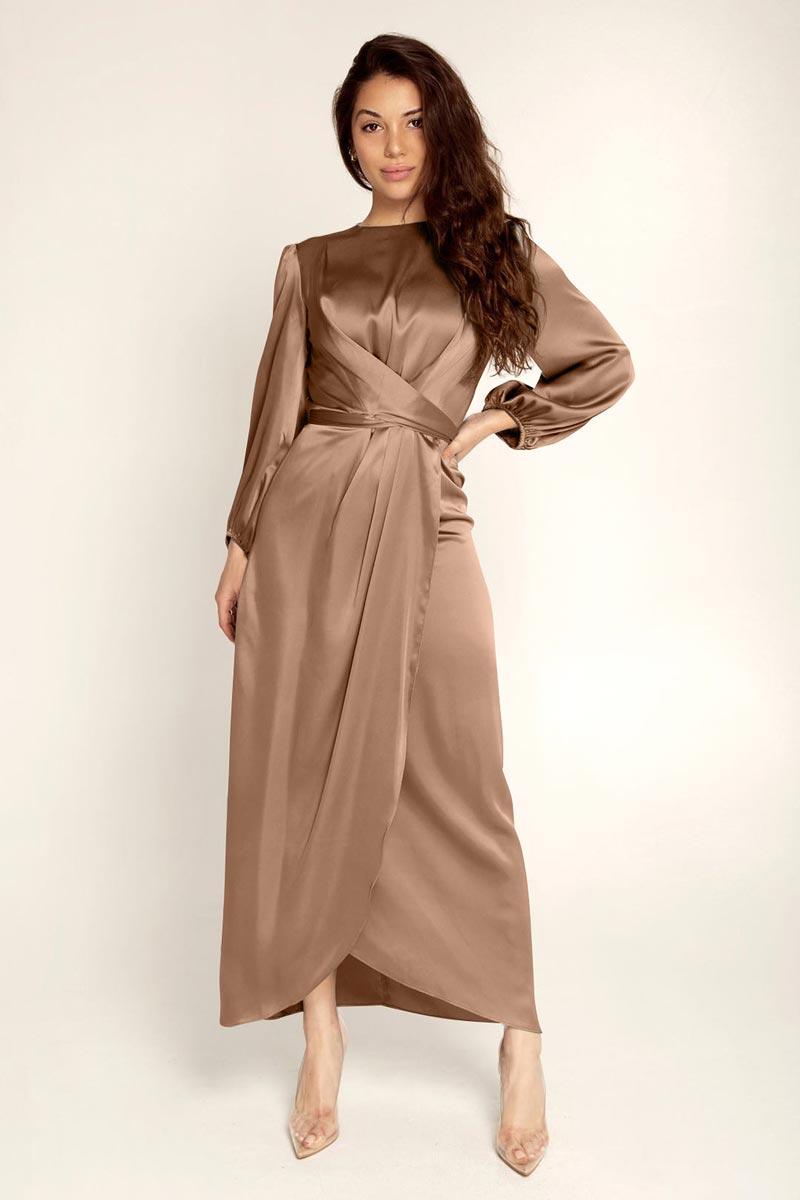 New Women's Elegant Empire Waist Long Sleeve Satin Maxi Dress (T300001A)