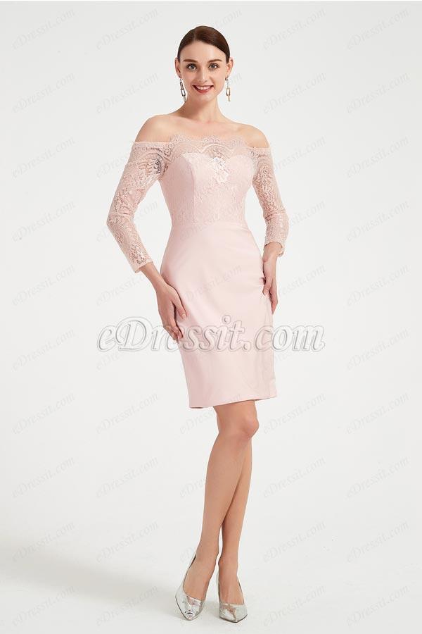 eDressit Pink Off Shoulder Long Sleeves Party Evening Dress (03200701)