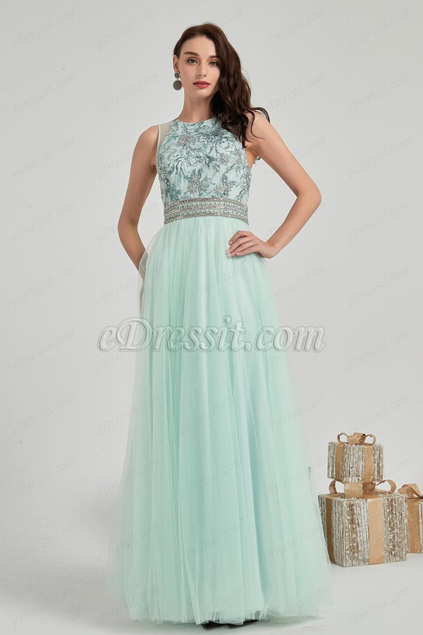 eDressit New Green Embroidery Tulle Ball Evening Dress (02202604)