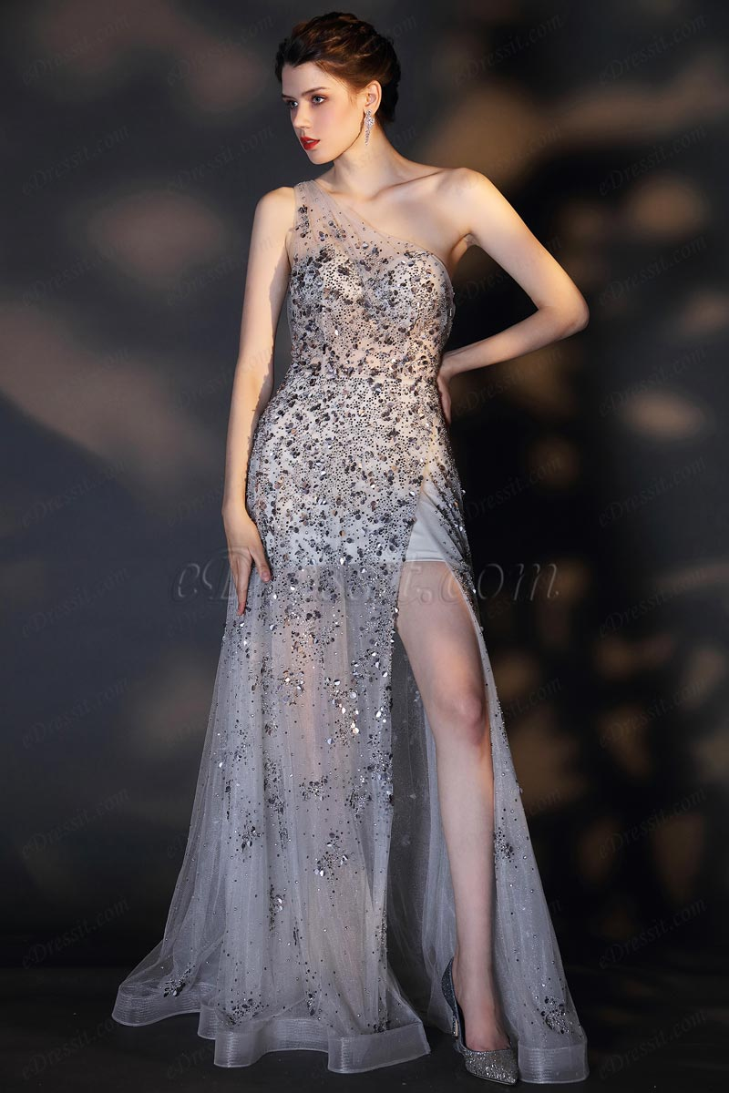 eDressit Sexy One Shoulder Shiny Sequins and Beads Party Ball Gown (00207508)
