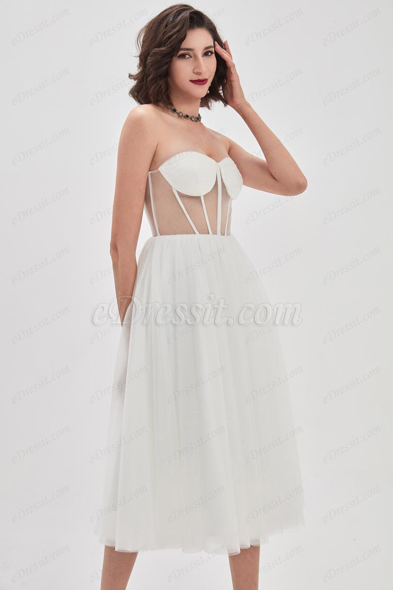 eDressit White Corset Polyester Bone Tulle Party Cocktail Dress (04210407)