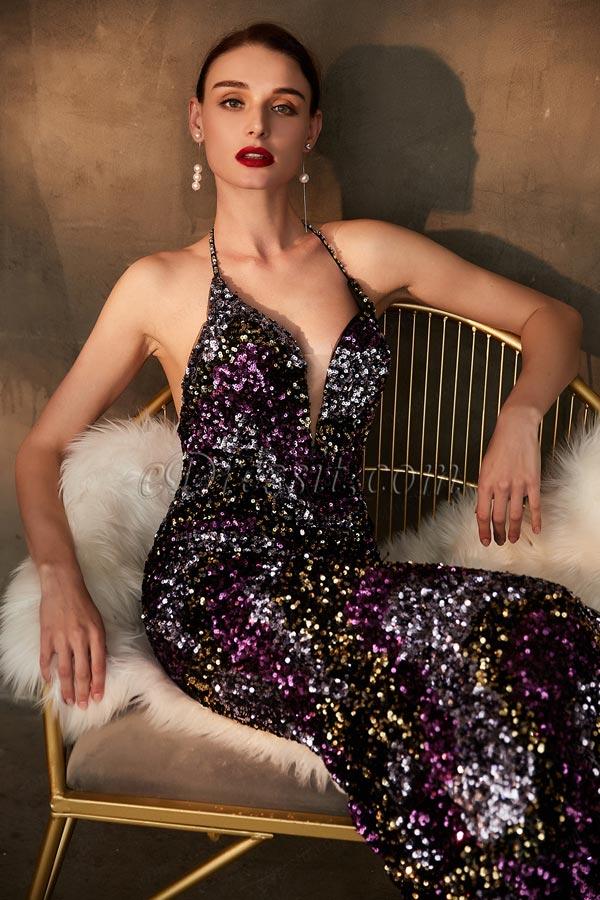 eDressit Sparkle Beaded Halter V-Cut Evening Party Dress (00203106)