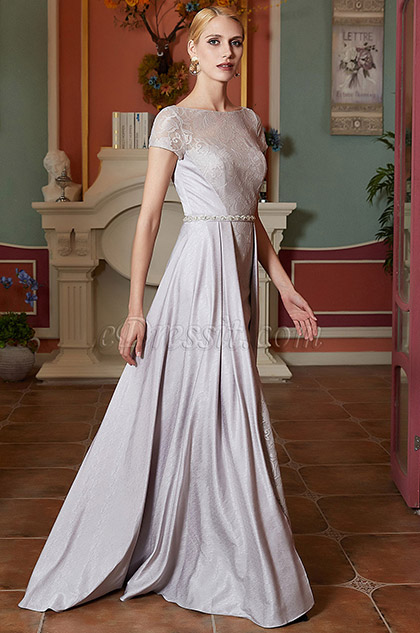 Illusion Neck Grey Lace Overlay Prom Party Gown-eDressit (02201908)