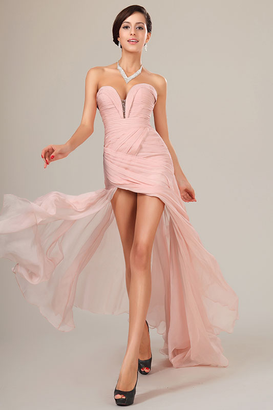 eDressit Pink Sweetheart Ruched Bodice Evening Dress