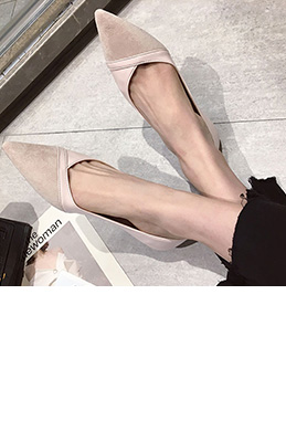 Women Suede Toe Closed Pointed Flat Shoes (0919077)