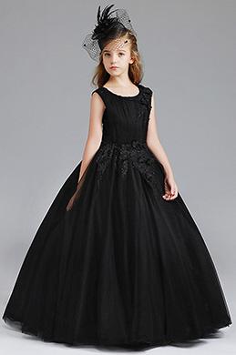 eDressit Black Round Neck Sleeveless Flower Girl Dress (27200400)