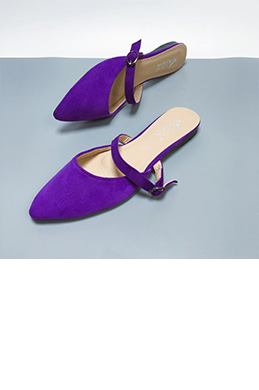 Simple Suede Toe Closed Pointed Flat Slipper Shoes (0919062)