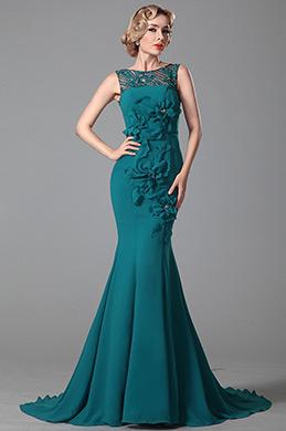 Robe de soirée turquoise sans manche décolleté dos (02150705)