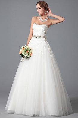 Robe de mariée dentelle sans bretelle coupe classique (01150707)