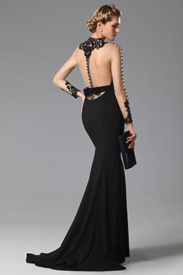 eDressit  High Neck Back Bowknot Slit Black Evening Gown (02150100)