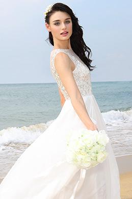 A Line Illusion Neck Beaded Bodice Wedding Dress (01160107)