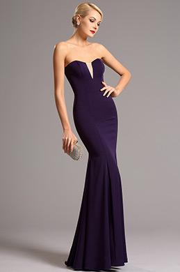 Robe de soirée cache-coeur sans bretelle violet (00161106)