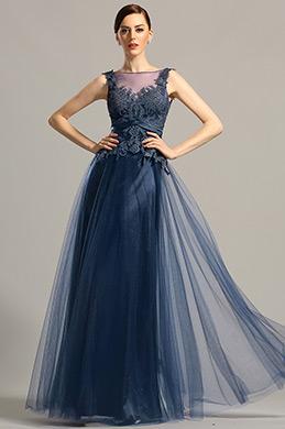 Sleeveless Open Back Navy Blue Formal Dress Evening Gown (02154305)