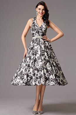 Halfter V-Ausschnitt Gedruckt überknielang Kleid (04161200)