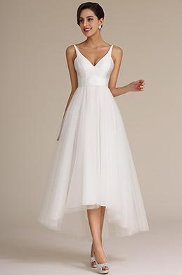 Dressit Straped V- Ausschnitt Asymmetrisches Brautkleid (01160807)