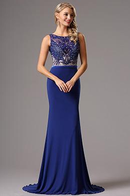 glitzerndes Ärmloses perlitisches hellblau Ball Abendkleid  (02160505)