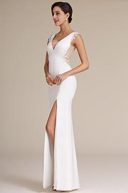 Sexy Ilusion V Cut Hoch Schlitz Weiß Formal Kleid (01160907)