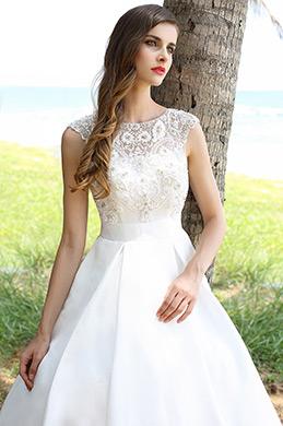 Ärmellos Perlenbesetztes Ballkleid Stickereien Brautkleid(01160507)