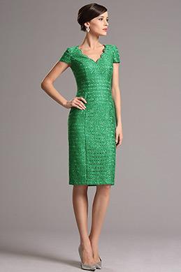 Green Vintage V Neck Short Sleeves Mother of the Bride Dress (26161704)