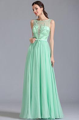 Ärmellos Gestickte Rosa Abendkleid Formal Kleid  (00154604)
