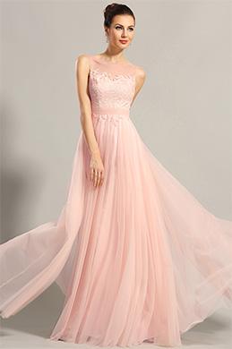 eDressit robe de soirée princesse rose dentelle sans manche (00153601)