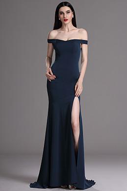 eDressit Blue Off Shoulder High Slit Formal Evening Dress (00163505)