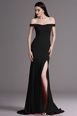 eDressit Black Off Shoulder High Slit Formal Evening Dress (00163500)