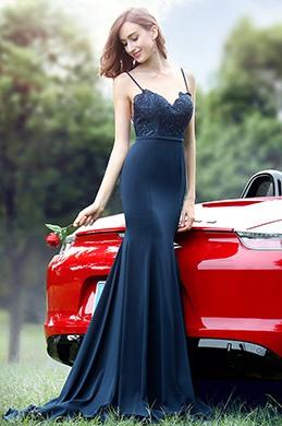 eDressit Spaghetti Straps Sweetheart Blue Lace Dress (00171805)