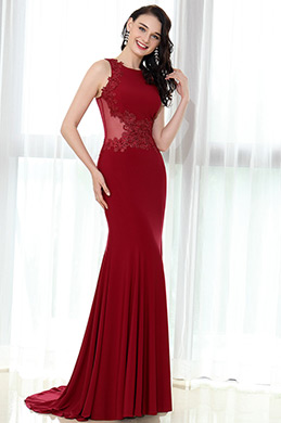 eDressit Burgundy Lace Appliques Prom Mermaid Gown(36170317)