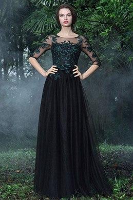 eDressit Schwarz Formell Kleid mit Grün Spitze Appikation(26171200)