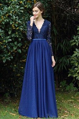 eDressit Long Sleeves Blue Plunging V Neck Lace Dress (00170905)