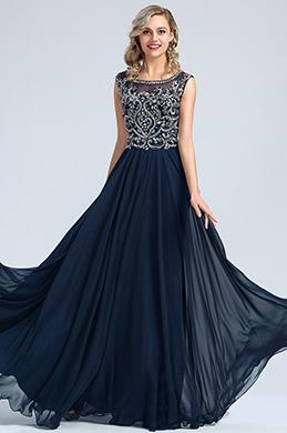 eDressit Blau Perlen A Linie Chiffon Formel Kleid (36173105)