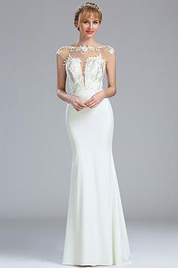 eDressit Cap Sleeves White Lace Appliques Wedding Dress (01173307)