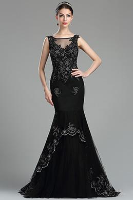 eDressit Vintage Black Floral Lace Appliques Dress for Women(36174600)