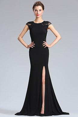 eDressit Black Lace Appliques slit Prom Evening Dress (36184700)