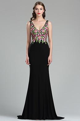 eDressit Robe de Soirée Noire Sexy à Broderie Florale (36180768)