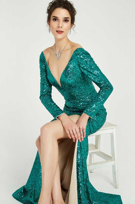 eDressit Robe de Soirée Verte à Paillettes Manches Longues (02190204)