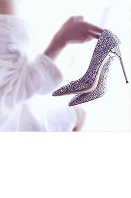 Women's Sparkling Glitter High Heel Closed Toe Pumps Shoes (0919005)