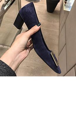 Women Block Heels Closed Toe Pumps Shoes (0919095)