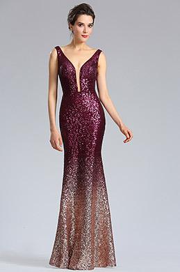 eDressit niederiger V-Ausdchnitt Burgundy-Gold Abendkleid (02183017)