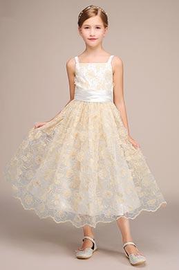 eDressit Beige Bowknot Children Wedding Flower Girl Dress (27192014)