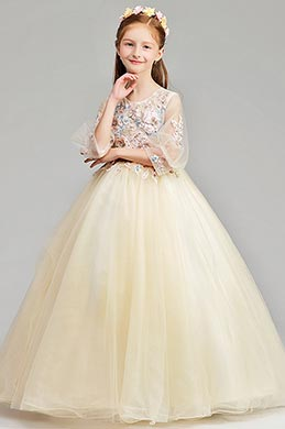 eDressit Long Beige Princess Party Stage Flowergirl Dress (27190614)