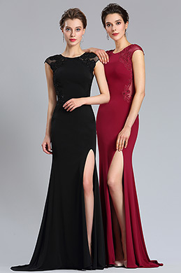 eDressit Burgundy Lace Appliques slit Prom Evening Dress (36184717)