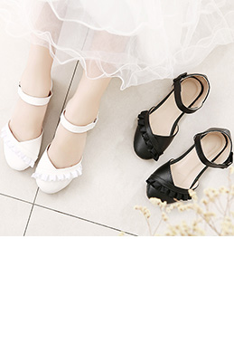 Girl's Round Toe Leather Flat Flower Dance Shoes (250052)