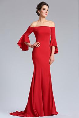 eDressit Robe de Soirée Rouge à Épaules Découverte Formelle (02181802)